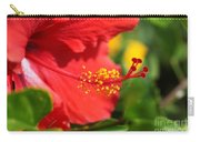 Red Hibiscus And Green Carry-all Pouch