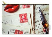 Red Lips Pin And Old Letters Carry-all Pouch