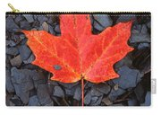 Red Maple Leaf On Black Shale Carry-all Pouch