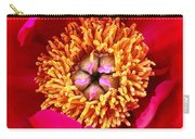 Red Pink Flower Center.  Close-up Center Carry-all Pouch