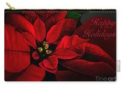 Red Poinsettia Happy Holidays Card Carry-all Pouch