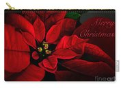 Red Poinsettia Merry Christmas Card Carry-all Pouch