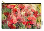 Red Poppies Wearing Pink Carry-all Pouch