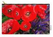 Red Poppy Cluster With Purple Lavender Carry-all Pouch