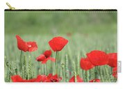 Red Poppy Flower And Green Wheat Nature Spring Scene Carry-all Pouch