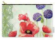 Red Poppy Purple Allium IIi - Retro Modern Patterns Carry-all Pouch