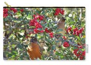 Red Robin And Cedar Waxwing 1 Carry-all Pouch