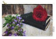 Red Rose And Sage With Vintage Books Carry-all Pouch