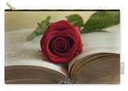 Red Rose On An Old Big Book Carry-all Pouch