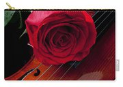 Red Rose With Violin Carry-all Pouch by Garry Gay
