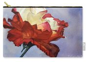 Watercolor Of A Red And White Rose On Blue Field Carry-all Pouch by Greta Corens