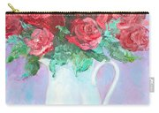 Red Roses In White Jug Carry-all Pouch by Jan Matson