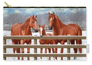 Red Sorrel Quarter Horses In Snow Carry-all Pouch by Crista Forest