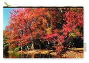 Red Trees By Lake Carry-all Pouch