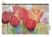 Watercolor Of Blooming Red Tulips In Spring Carry-all Pouch by Greta Corens