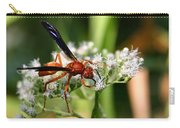Red Wasp On Lace Carry-all Pouch