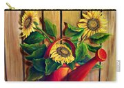 Red Watering Can With  Sunflowers.  Sold Carry-all Pouch
