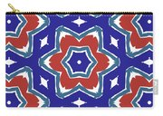 Red White And Blue Star Flowers 1- Pattern Art By Linda Woods Carry-all Pouch