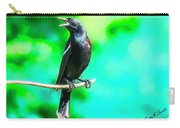 Red Wing Blackbird Perching And Singing Carry-all Pouch