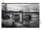 Reflecting Oval Stone Bridge In Blanc And White Carry-all Pouch by Dennis Dame
