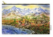 Reindeer Herd At The Watering Hole. Carry-all Pouch