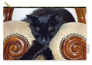 Relaxed Black Cat Sleeping Between Two Chairs Carry-all Pouch