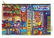 Restaurant La Tortilleria Du Marche Montreal Watercolor Streetscenes Little Italy Paintings Cspandau Carry-all Pouch