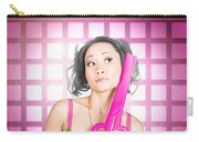 Retro Hairdresser Holding Big Pair Of Scissors Carry-all Pouch