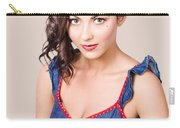 Retro Pin-up Girl In Blue Denim Dress Carry-all Pouch