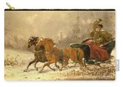 Returning Home In Winter Carry-all Pouch by Charles Ferdinand De La Roche