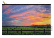 Retzer Nature Center - Summer Sunset Over Field And Fence Carry-all Pouch