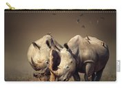 Rhino's With Birds Carry-all Pouch