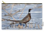 Ringneck Pheasant Rooster In Snow Carry-all Pouch