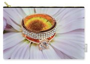 rings on white daisy love Valentine's Day  gerbera and wedding gold  Carry-all Pouch