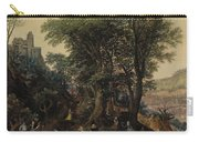 River Landscape In The Spring With Castle And Noblemen Carry-all Pouch