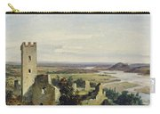 River Landscape With Castle Ruins Carry-all Pouch