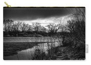 River With Dark Cloud In Black And White Carry-all Pouch