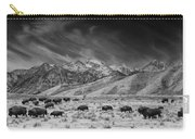 Roaming Bison In Black And White Carry-all Pouch