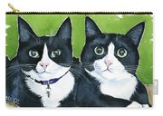 Robin And Batcat - Twin Tuxedo Cat Painting Carry-all Pouch