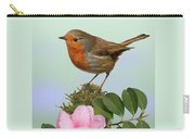 Robin And Camellia Flower Carry-all Pouch