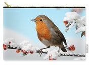 Robin And Cotoneaster With Snow Carry-all Pouch