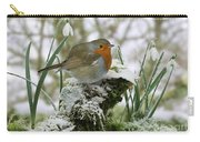 Robin And Snowdrops Carry-all Pouch
