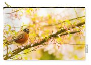 Robin In Spring Blossom Cherry Tree Carry-all Pouch