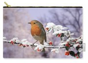 Robin On Cotoneaster With Snow Carry-all Pouch