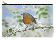 Robin On Frosty Briar Carry-all Pouch
