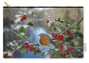 Robin On Holly Branch Carry-all Pouch