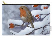 Robin On Snow-covered Rose Hips Carry-all Pouch