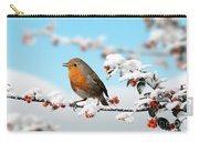 Robin On Snowy Cotoneaster Carry-all Pouch