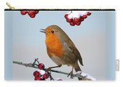 Robin On Winter Cotoneaster Carry-all Pouch