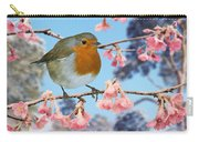 Robin On Winter Flowering Plum Carry-all Pouch
